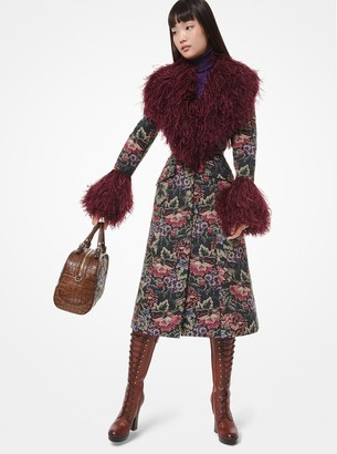 Michael Kors Floral Tapestry Feather-Trim Coat