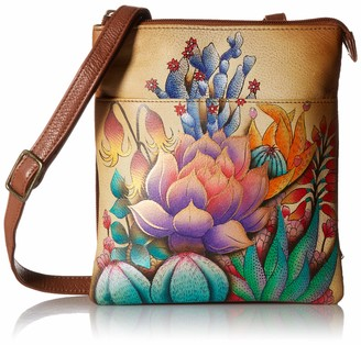 Anuschka Women's Leather RFID Blocking Triple Compartment Travel Organizer Hand Painted Original Artwork
