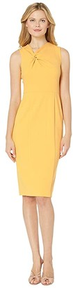Donna Morgan Sleeveless Crepe Sheath Dress (Mimosa Yellow) Women's Dress