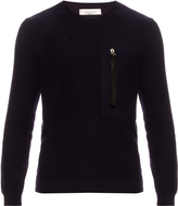 Valentino Zip-pocket wool and cashmere-blend sweater