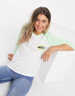 Quiksilver Raglan long sleeved t-shirt in white