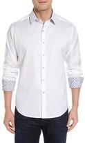 Robert Graham Men's Big & Tall Robert Stack Haystack Regular Fit Jacquard Sport Shirt