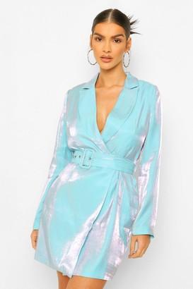 boohoo Metallic Satin Self Belt Blazer Dress