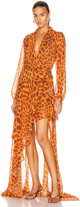 PatBO Margot Hi Low Maxi Wrap Dress in Bright Orange | FWRD