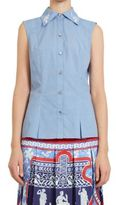 Mary Katrantzou Doric Sleeveless Cotton-Poplin Top