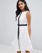 Girls On Film Lace Trim Skater Dress