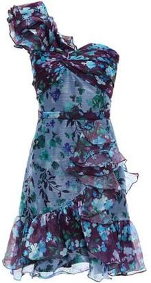 Marchesa One-shoulder Metallic Floral-print Georgette Mini Dress