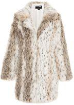 Quiz Beige And Grey Leopard Print Faux Fur Jacket