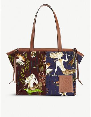 Loewe Loewex Paula's leather and cotton-canvas tote bag