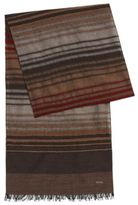 Hugo Boss Cantos Italian Wool Silk Striped Scarf One Size Brown