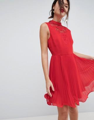 Asos Design ASOS Sleeveless Lace Insert Pleated Mini Dress