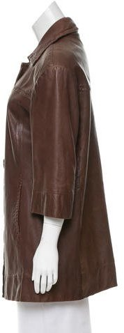 Vince Leather Satin-Lined Coat