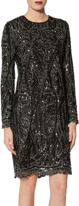 Gina Bacconi Marzena Swirl Embroidered Floral Dress, Black