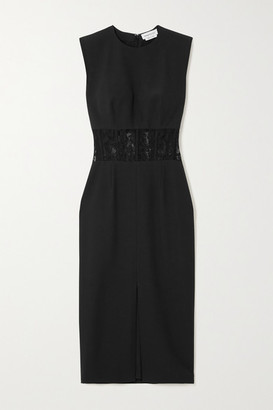 Alexander McQueen Lace-trimmed Crepe Midi Dress - Black