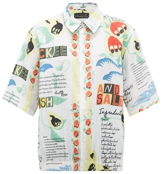 Martine Rose Ackee And Saltfish-print Linen Shirt - Womens - White Multi