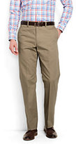 Lands' End Men's Plain Front Comfort Waist No Iron Chino Pants-Light Stone