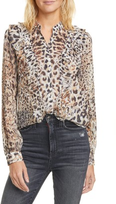 L'Agence Nadine Ruffle Trim Metallic Silk Blouse