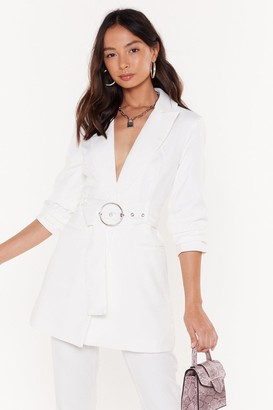 Nasty Gal Womens Ring It Back Longline Belted Blazer - white - L