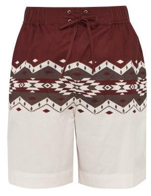 Isabel Marant Portici Geometric-print Drawstring Cotton Shorts - Mens - Burgundy