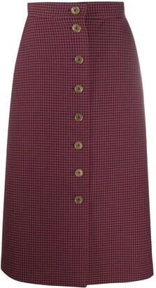 Fendi Gingham Check Buttoned Skirt