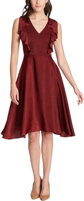 Kensie V-Neck Ruffled Satin A-Line Midi Dress