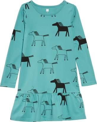 Tea Collection Long Sleeve Ruffle Hem Dress