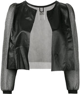 Aviu sheer sleeve cropped jacket - women - Leather/Polyamide/Spandex/Elastane/Metallized Polyester - M