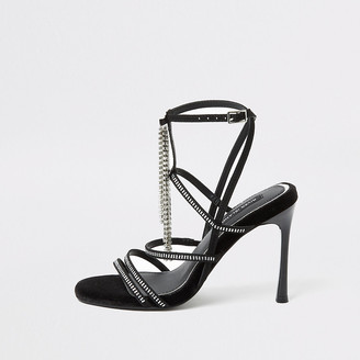River Island Black diamante strappy heeled sandal