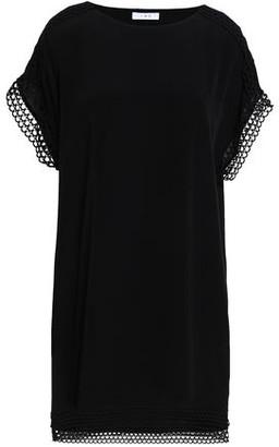 IRO Mulla Open Knit-trimmed Crepe De Chine Mini Dress