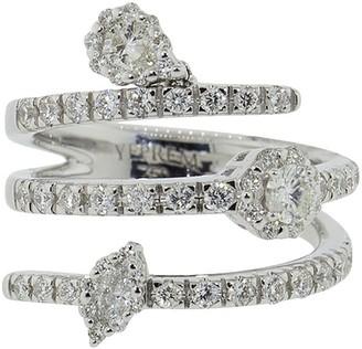 YEPREM 18kt White Gold Triple Coil Diamond Ring