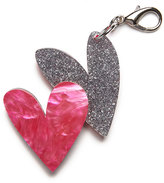 Edie Parker Double Heart Bag Charm, Pink/Silver