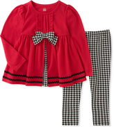 Kids Headquarters Red & Black Houndstooth Tunic & Leggings - Toddler & Girls