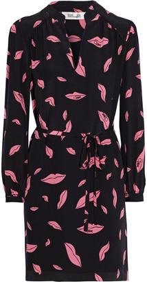 Diane von Furstenberg Glenda Belted Printed Silk Crepe De Chine Mini Dress