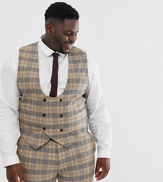 Twisted Tailor plus suit vest in heritage brown check-Tan