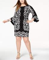 INC International Concepts I.N.C. Plus Size Vine-Print Bell-Sleeve Dress, Created for Macy's