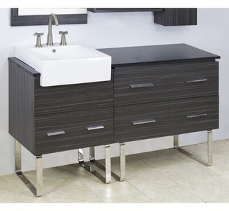 "American Imaginations 60"" Single Modern Bathroom Vanity Set Hardware Finish: Aluminum, Faucet Mount: 8"" Off Center"