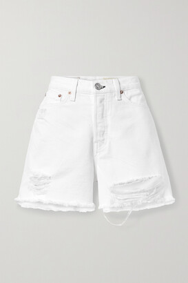 rag & bone - Maya Distressed Organic Denim Shorts - White