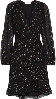 Diane von Furstenberg Bea Ruched Metallic Fil Coupe Chiffon Mini Dress