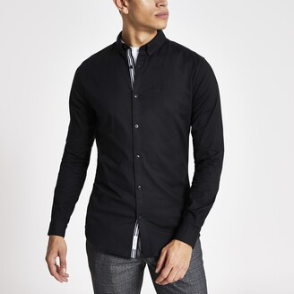 River Island Mens Black long sleeve muscle fit Oxford shirt