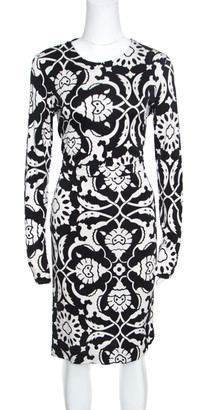 Tory Burch Monochrome Floral Printed Silk Knit Sheath Dress M
