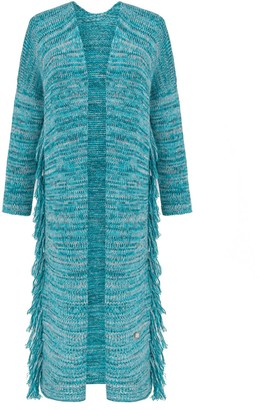 You By Tokarska Frida Long Cardigan With Fringed Multicolour Blue