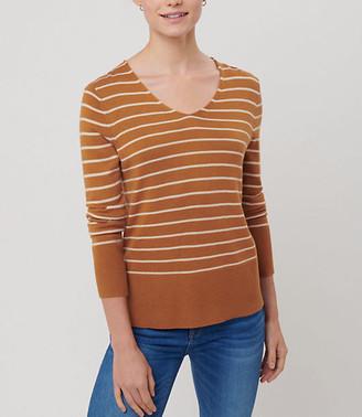 LOFT Striped Rib Trim V-Neck Sweater