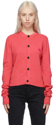 Acne Studios Pink Wool Crewneck Patch Cardigan