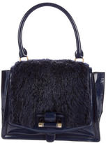 Robert Clergerie Fur-Trimmed Patent Leather Bag w/ Tags