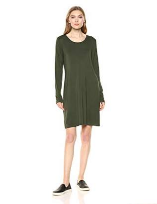 Daily Ritual Jersey Long-Sleeve Scoop-Neck T-Shirt Dress Casual,(EU L - XL)