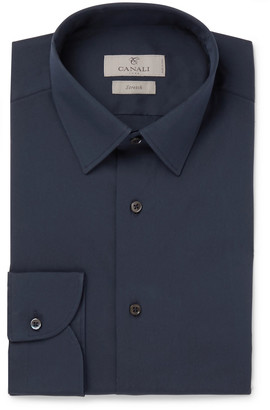 Canali Navy Slim-Fit Stretch Cotton-Blend Poplin Shirt