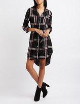 Charlotte Russe Belted Plaid Shirt Dress