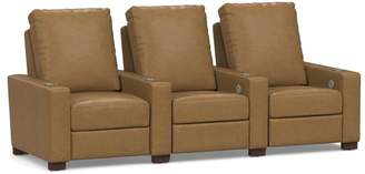 Pottery Barn Turner Square Leather Media Row of 3