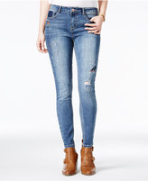 Vanilla Star Juniors' Embroidered Skinny Ankle Jeans