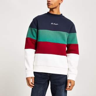 River Island Mens Navy R96 colour block sweatshirt